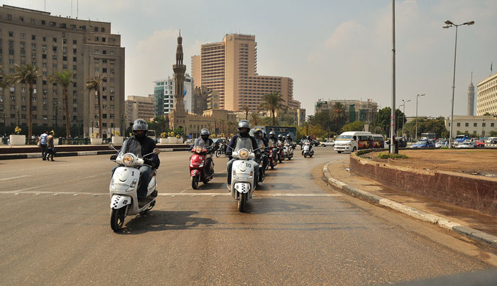 Cross Egypt Challenge - Riding through Tahrir Square