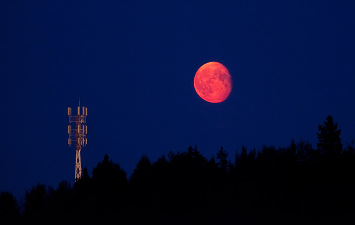 www.letsbewild.com - Red Moon from summer forest fire - Photo by Thomas Koidhis