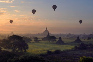Adventure Travel Photo of the Day - www.letsbewild.com - The Perfect Flight, Bagan, Myanmar - Barry Cawston