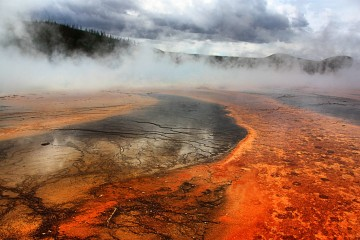 www.letsbewild.com - Adventure Travel Photo of the Day - Prismatic Mist, Grand Prismatic Spring, Yellowstone National Park, Wyoming, United States - Norman Lathrop