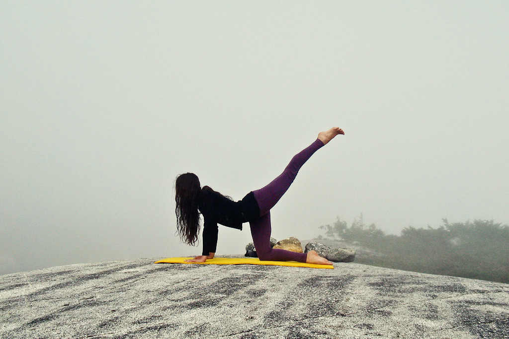 Adventure Travel Photo of the Day - www.letsbewild.com - Yoga in the Mist, Coast Range, British Columbia, Canada - Jessie Rhodes