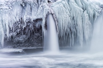 A Frozen Waterfall in Goðafoss, Iceland
